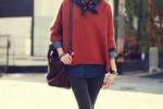 暖色调宽松毛衣 让冬天暖上加暖