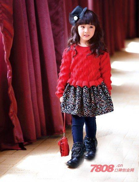 2014秋季儿童红色连衣裙搭配